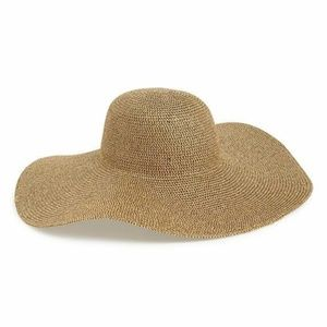 Metallic Floppy Straw Hat